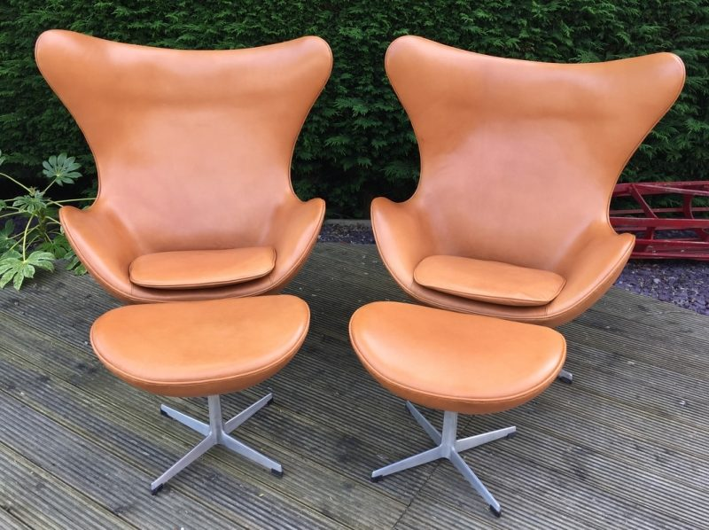 Original Cognac Leather Egg Chair and Ottoman by Arne