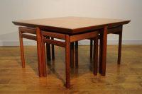 Set of 4 1960s Danish Teak Stools Nesting in Coffee Table ...