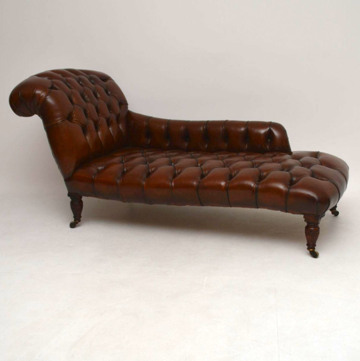 Leather Chaise Lounge Chair Antique Victorian Deep Buttoned Leather Chaise Lounge
