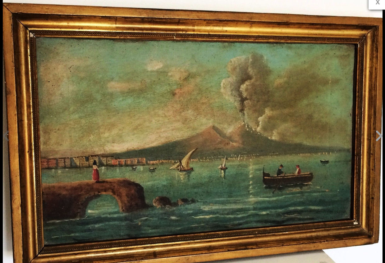 high chairs on sale commode chair over toilet 19th century oil painting of vesuvius erupting | interior boutiques – antiques for and mid ...