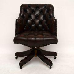 Antique Leather Swivel Desk Chair Office On Sale Georgian Buttoned 1