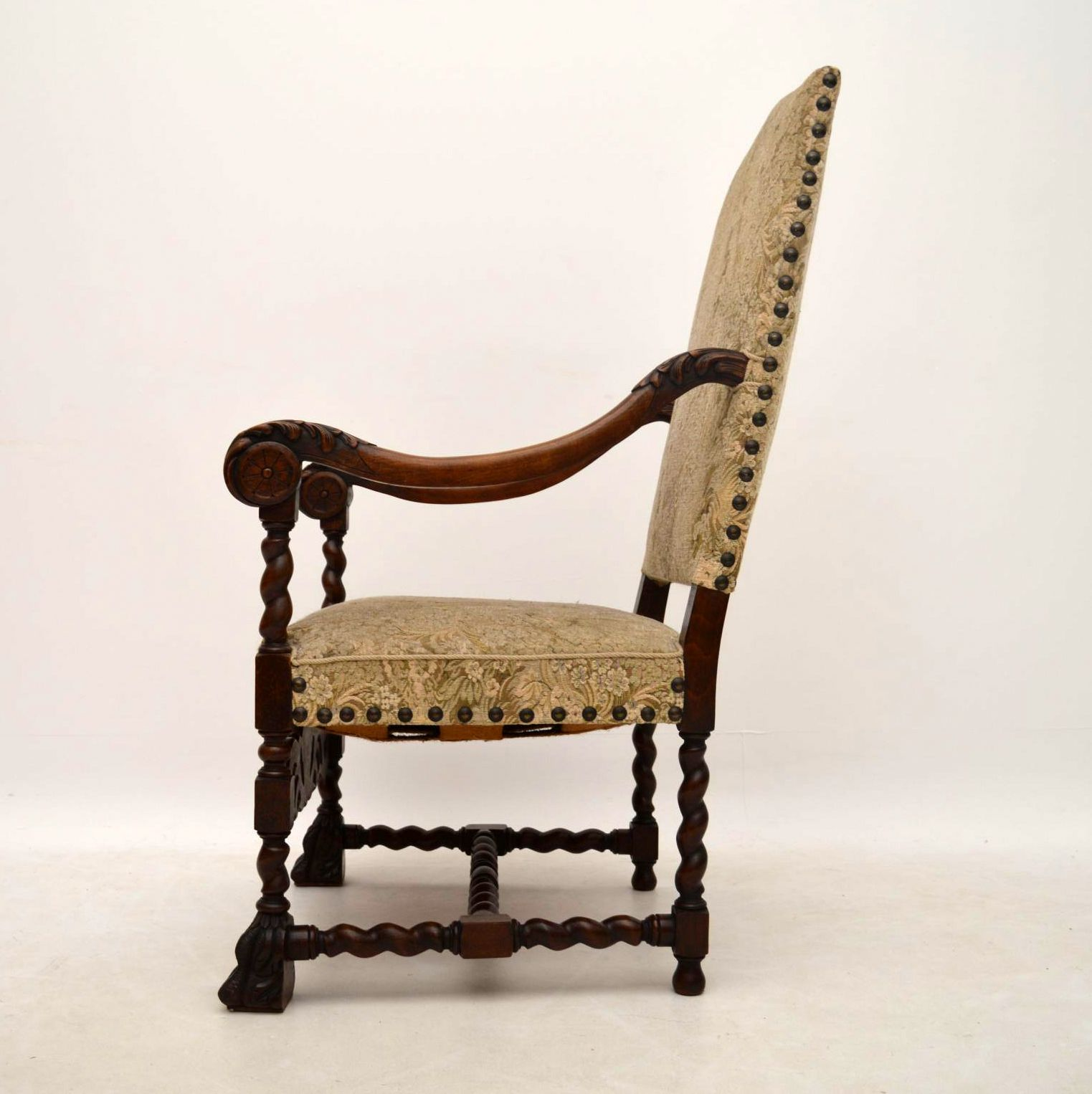 Pair of Antique Carolean Carved Walnut Upholstered