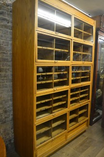 Antique Oak Haberdashery Display Cabinet Interior