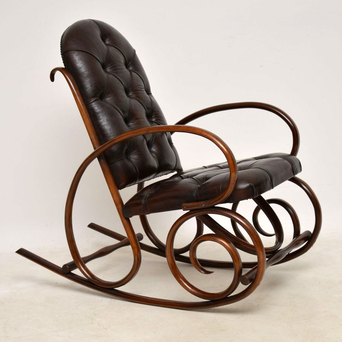Leather Rocking Chair Antique Bentwood Leather Rocking Chair By Thonet