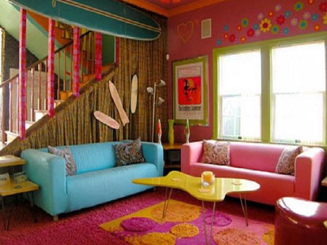 17 Dekorasi Ruangan dengan Menggunakan Cat  Warna  warni