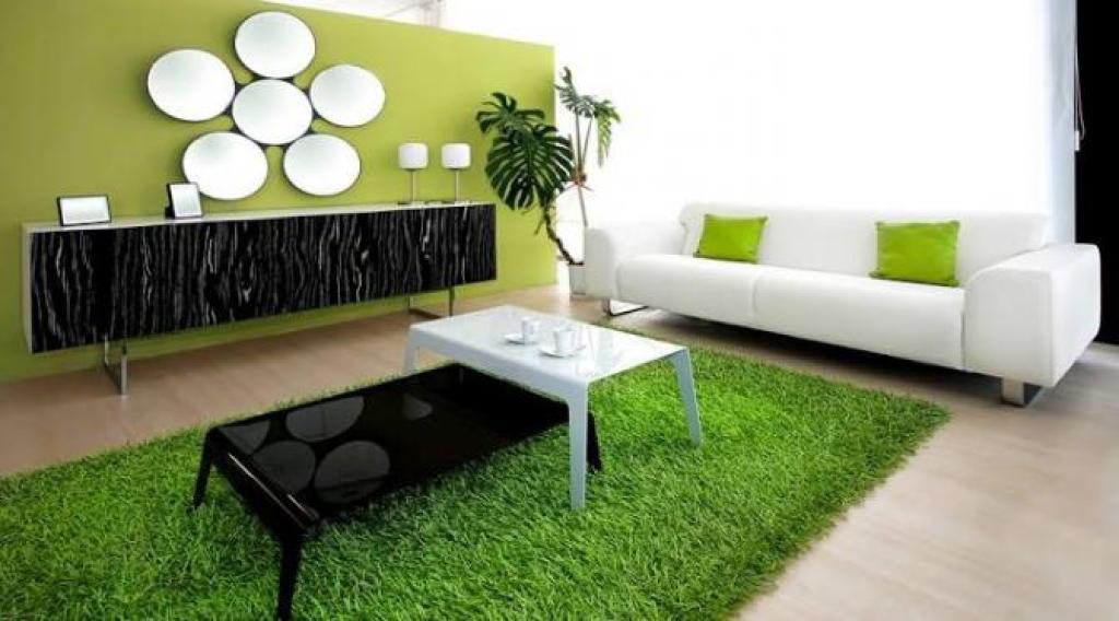 dekorasi ruang dengan tanaman, elemen dekoratir rumput sintetis