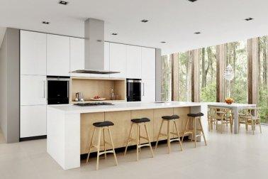 desain interior minimalis; desain dapur dan ruang makan dengan keseimbangan simetris
