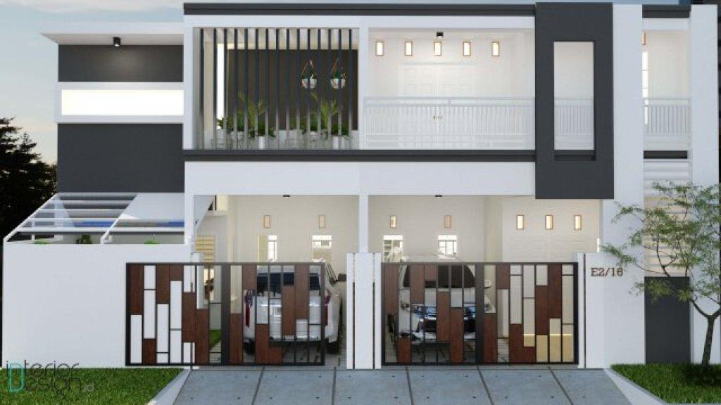 hasil rendering tiga dimensi deasin fasad rumah gaya modern minimalis