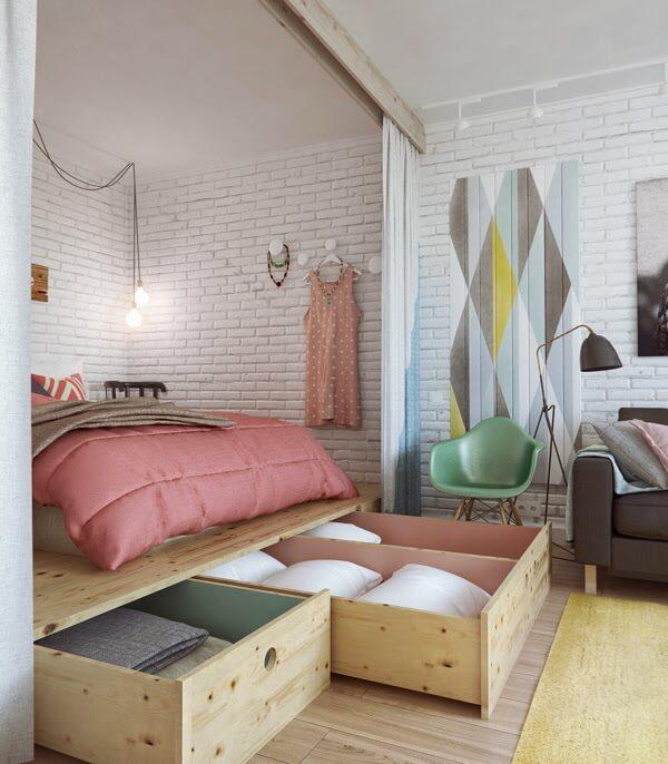 penyimpanan kamar tidur kecil