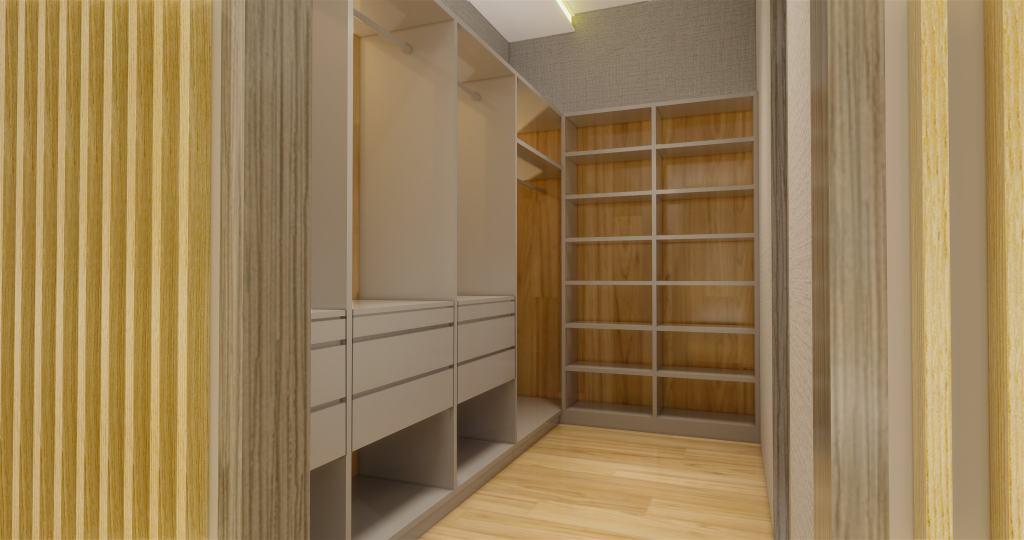 Walk in closet dengan gaya modern dan lampu minimalis