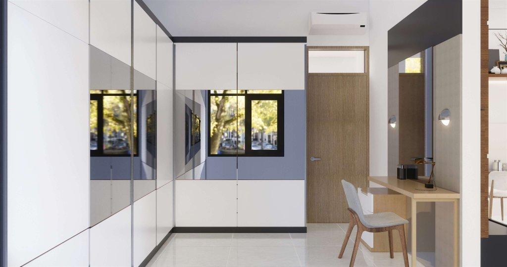 Walk in closet dengan gaya modern minimalis dilengkapi furnitur yang selaras