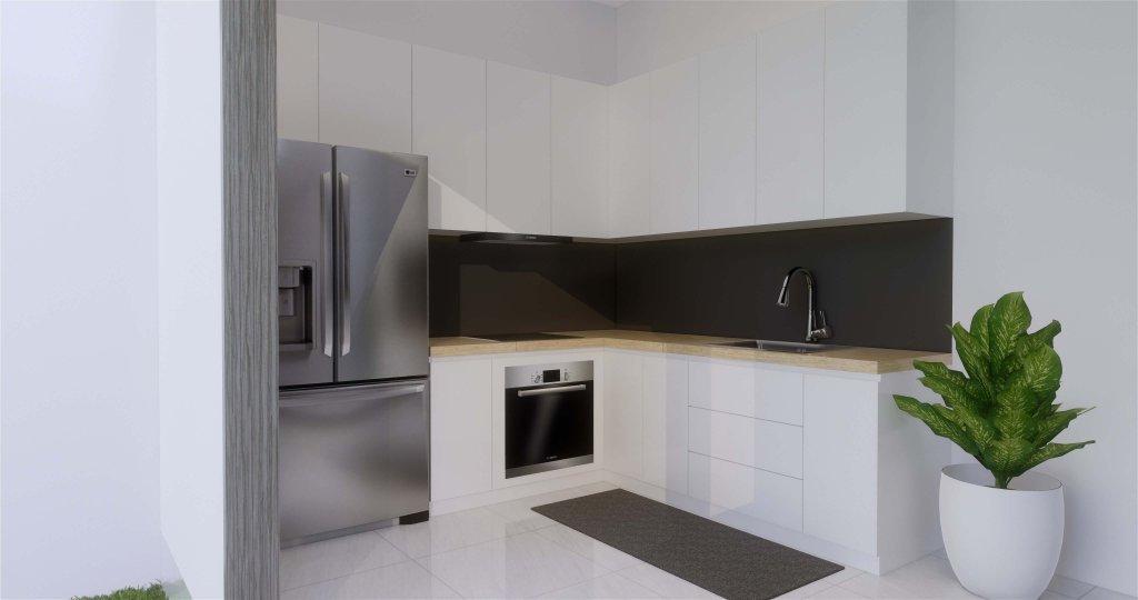 Interior desain dapur konsep modern dihiasi dengan tanaman hijau