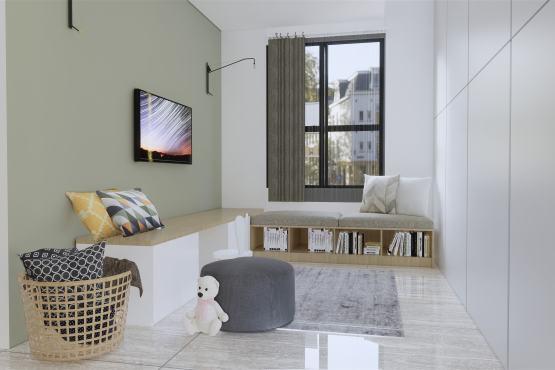 Interior desain ruang baca modern natural