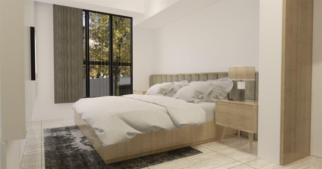Interior desain kamar tidur utama gaya modern natural