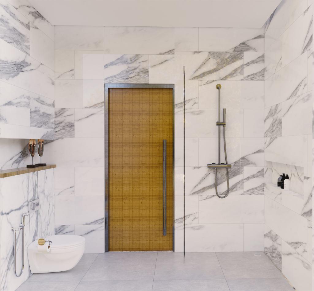 Interior desain kamar mandi modern natural