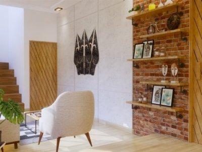 Desain interior rumah gaya modern industrial