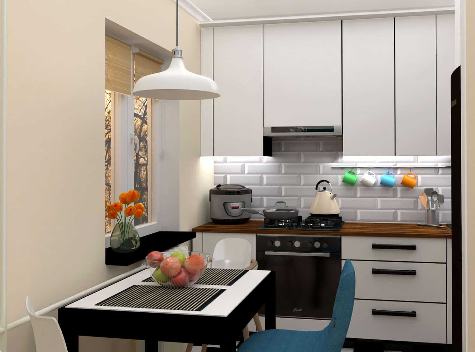 i designed this project for a family with a small child they have a close one bedroom apartment with a small kitchen since the family loves to receive - Little Kitchen