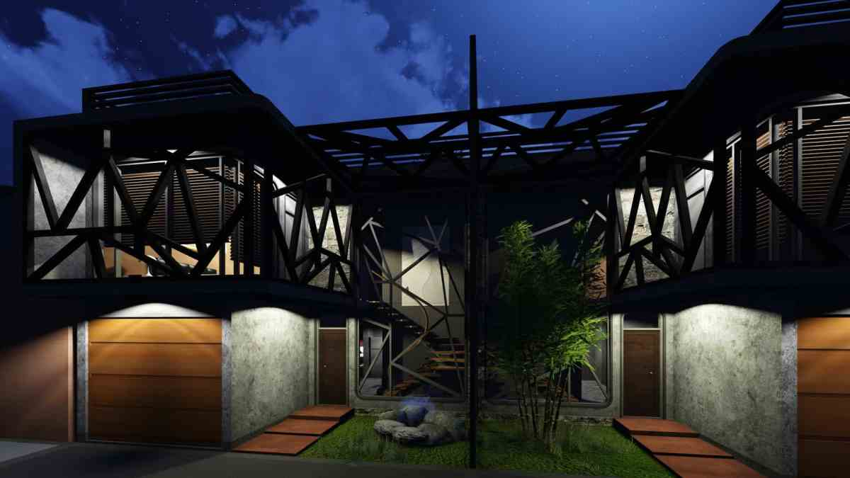 Living Place / House, Interior / Exterior Nigh Render