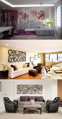 how to decorate a large wall in living room - Interior design