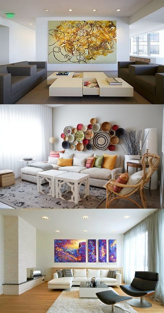 Creative ways to decorate a whitewalled living room