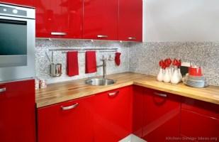 Red and white kitchen cabinets   Interior design