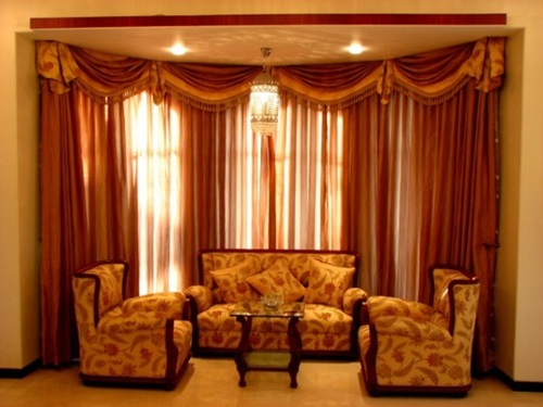 living room curtain ideas for bay windows paint colors with black furniture luxurious modern design