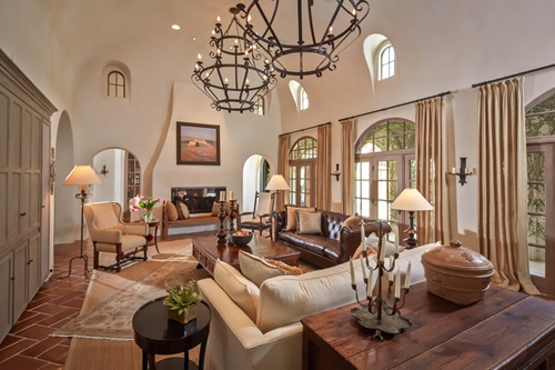 rustic leather living room furniture ideas with brown suite mediterranean style curtains - interior design