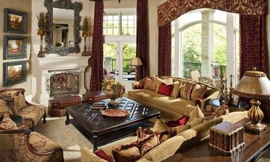 Mediterranean Style Living Room Curtains  Interior design