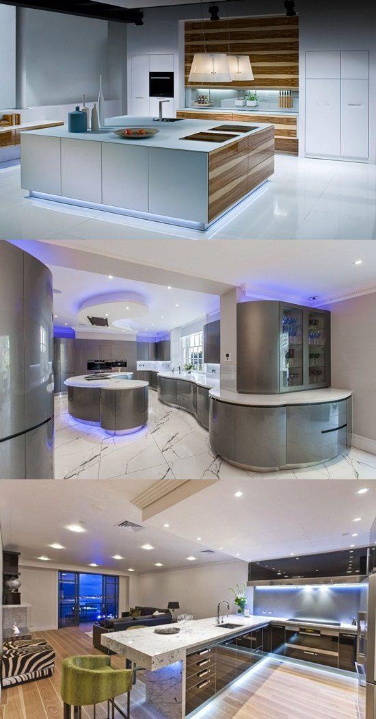 Futuristic kitchen LED lighting  Interior design