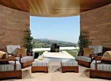 Residential project concept Lounge near Wooden Sofas also some Wooden Ottomans