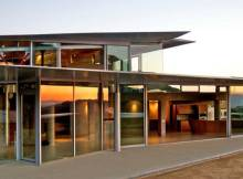 Contemporary Home Decor Wide Glass Walls also Flat Roof near the Wide Terrace
