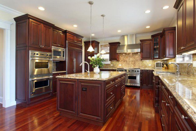 Brown Painted Kitchen Cabonets