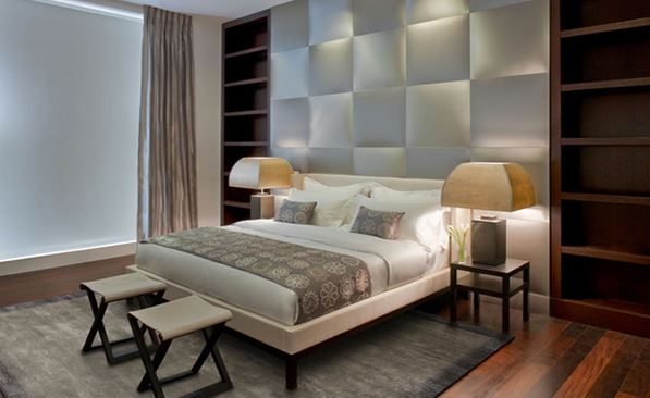 This Is An Example Of A Modern Bedroom With A Head Board Design Like No  Other. There Is A Partition Between The Headboard For Putting Up The  Pillows Inside ...