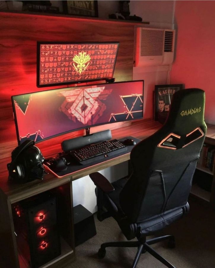 Beautiful Red Set Up Need A New Gaming Pc ☼ Via Egamephone #Gaming Room Setup #Quarto Gamer #Playstation Room #xbox Room