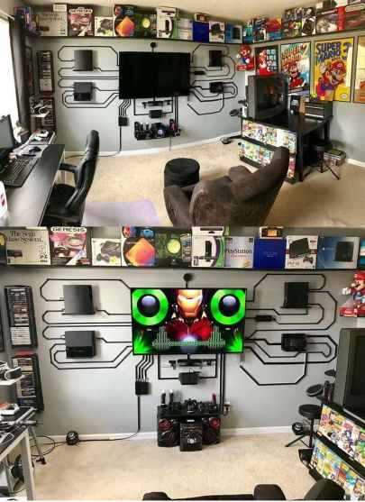 Cable Managements ☼ Via 9gag #Ps4 Gaming Setup #Dream Rooms #Gaming Setup Xbox