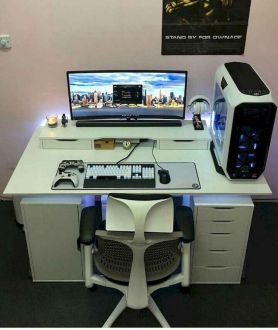 Extremely Modern Computer Desk Design Idea ☼ Via Advicedecor #Gaming Room Setup #Quarto Gamer #Playstation Room #xbox Room