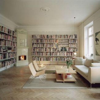 Wall Mounted Bookshelves ⊶ Via Apartmenttherapy #HomeLibraryDesign