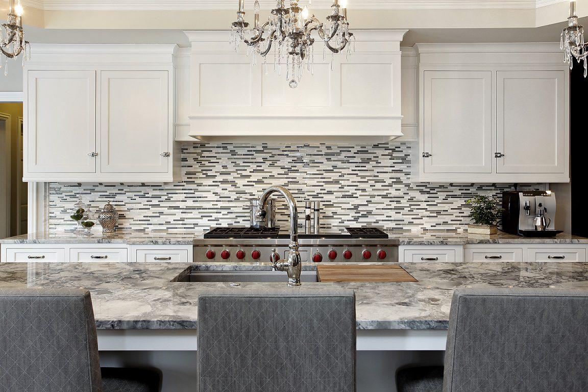 mosaic tile backsplash spotlighted on