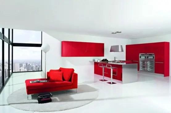 Diseo de cocinas modernas combinando colores rojo y