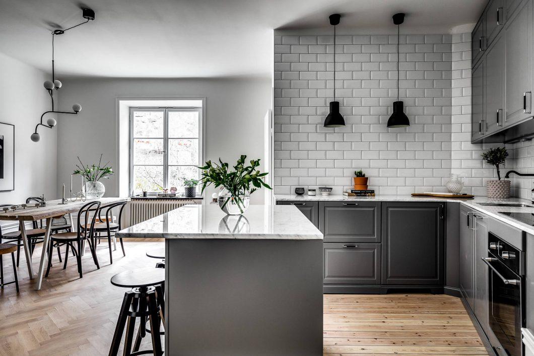 Azulejo biselado para una cocina nrdica  Interiores Chic