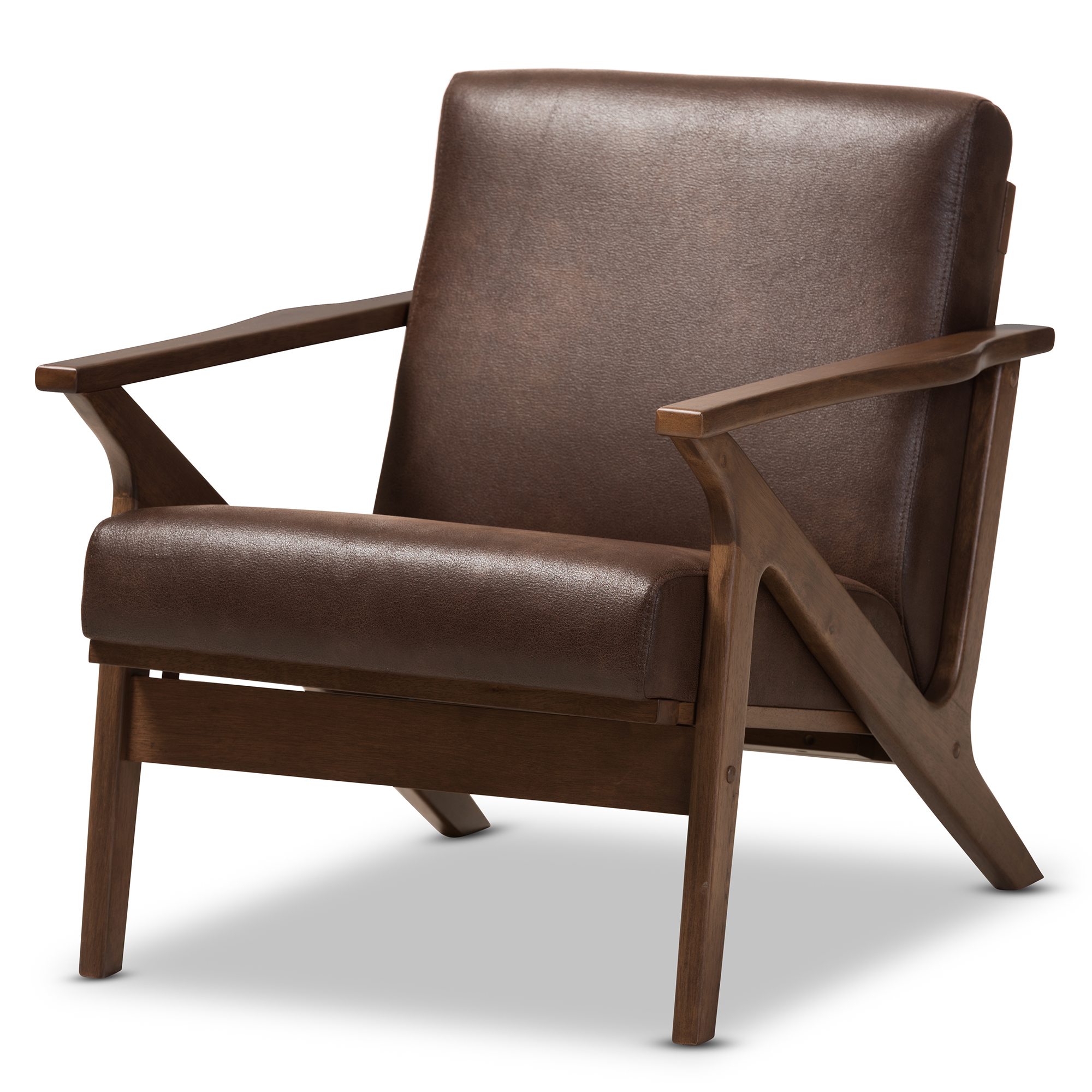 Wood Club Chair Baxton Studio Bianca Mid Century Modern Walnut Wood Dark Brown Distressed Faux Leather Lounge Chair
