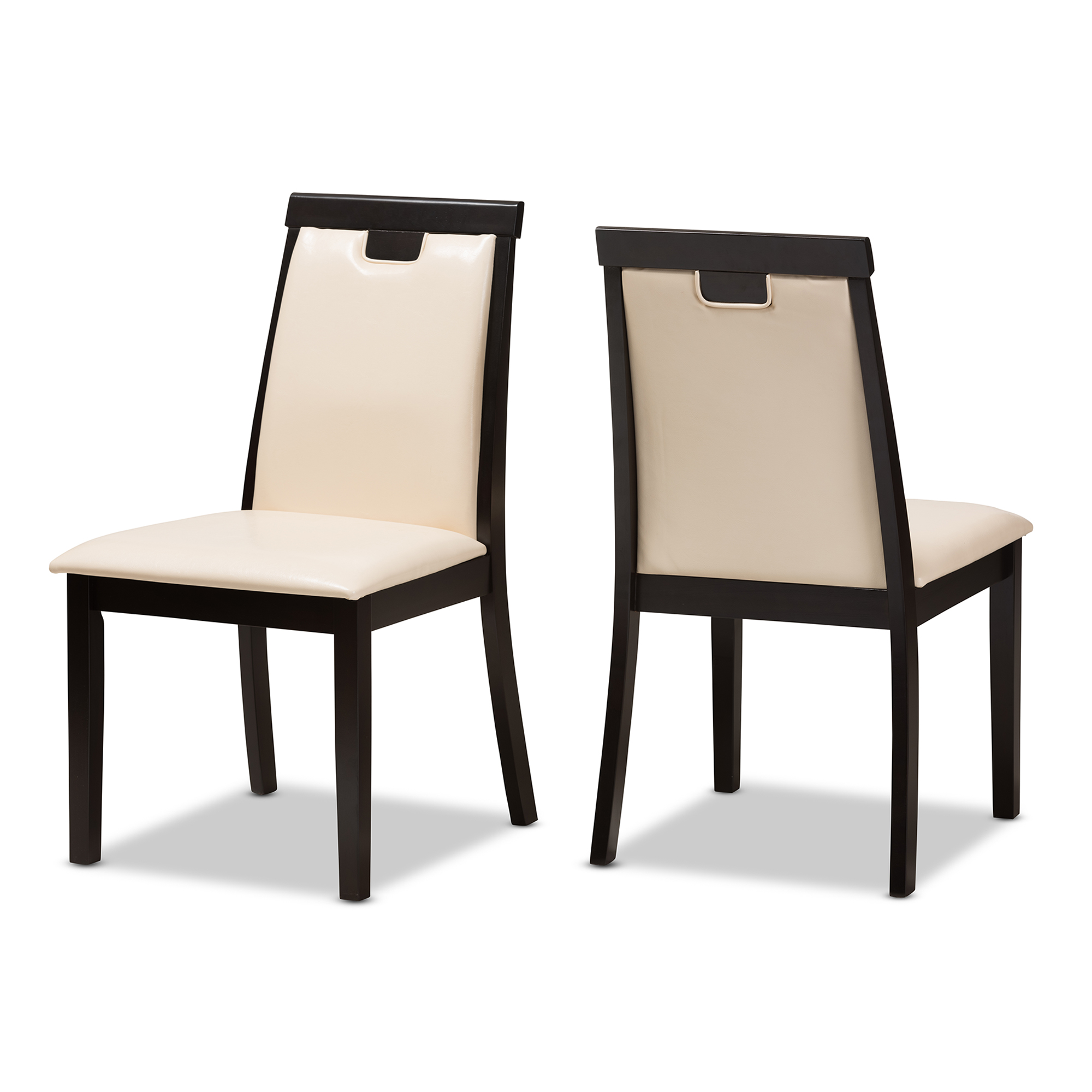 Beige Leather Dining Chairs Baxton Studio Evelyn Modern And Contemporary Beige Faux Leather Upholstered And Dark Brown Finished Dining Chair Set Of 2