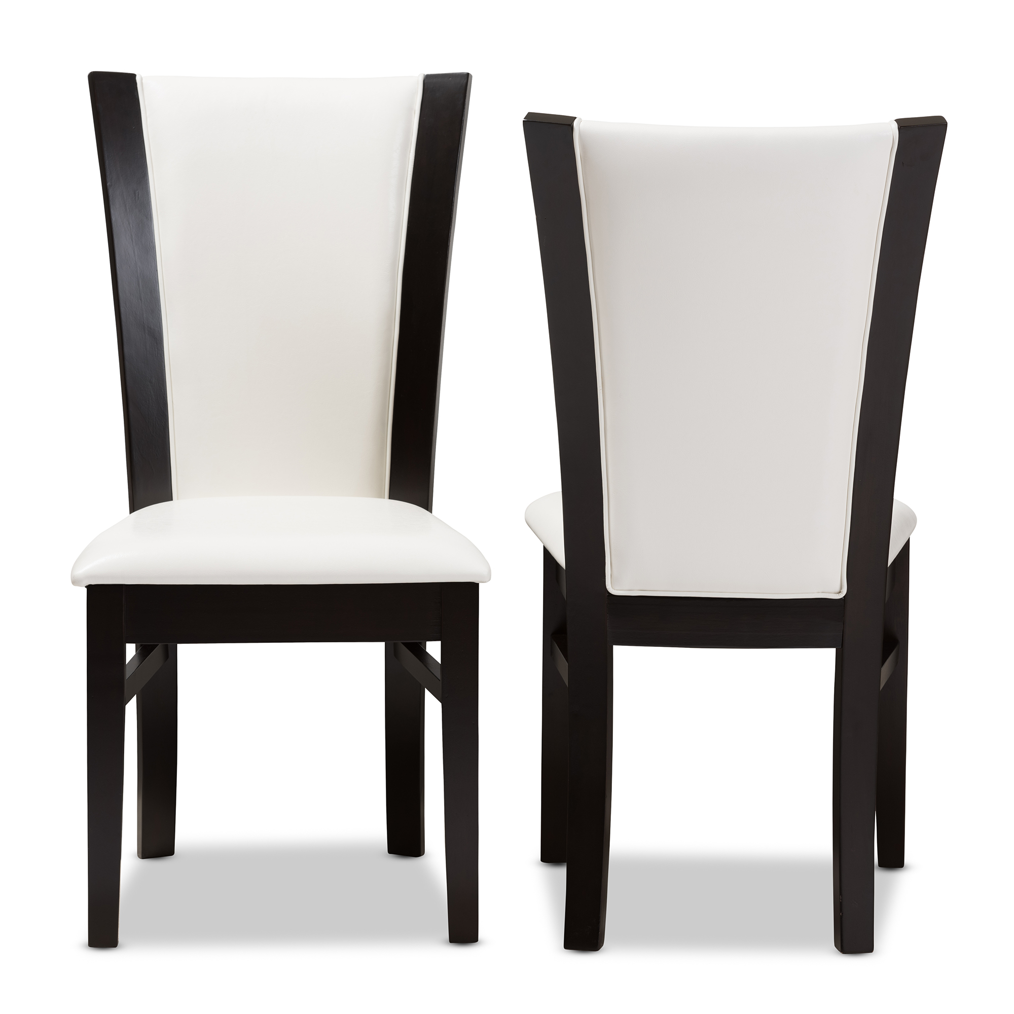 Black Leather Dining Chairs Baxton Studio Adley Modern And Contemporary Dark Brown Finished White Faux Leather Dining Chair Set Of 2
