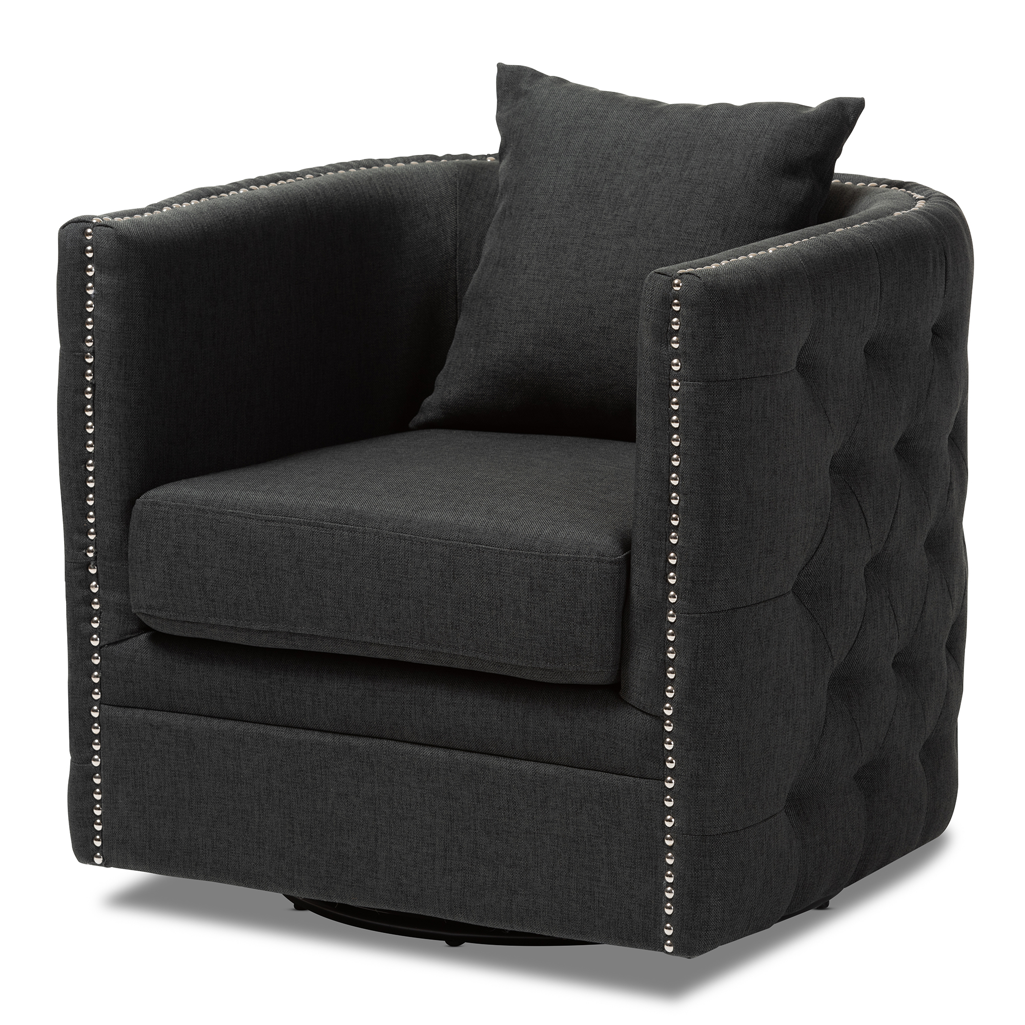 Upholstered Swivel Chairs Baxton Studio Micah Modern And Contemporary Grey Fabric Upholstered Tufted Swivel Chair