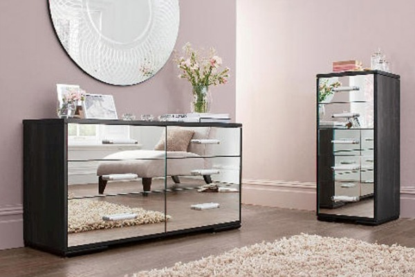 Black mirrored glass bedroom furniture  make your home vintage modernity  Interior  Exterior