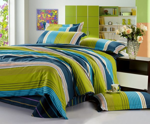 Blue and Green Bedding Sets for Boys