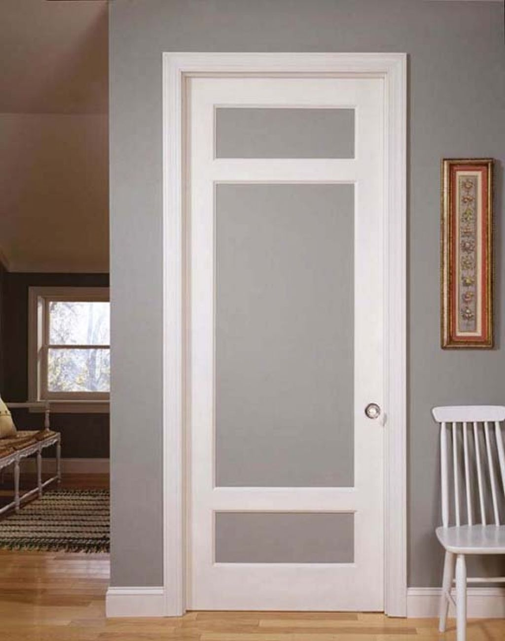 French doors interior frosted glass