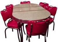 Red retro kitchen table chairs - When Red Become A ...