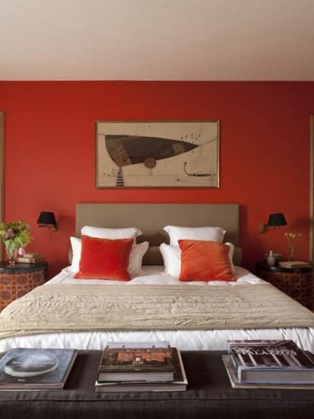 sunset orange for accent wall bedroom 25 Sleek Orange Accents Bedroom Ideas | Interior God