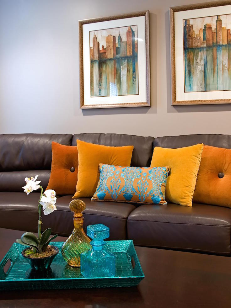 20 Living Room Designs With Brown Blue And Orange Accents